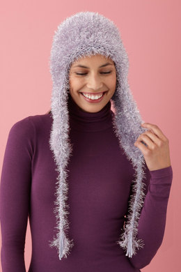 Lush Warm Hat in Lion Brand Martha Glitter Eyelash and Martha Extra Soft Wool Blend - L10440