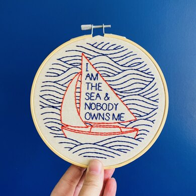 Hook Line & Tinker I Am The Sea Embroidery Kit