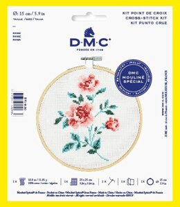 "DMC Rose (with 6"" hoop) Cross Stitch Kit - 25cm x 25cm"