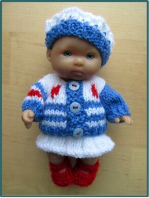 """Striped Cardigan Outfit for 5"""" Berenguer Baby"""