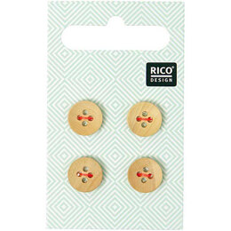 Rico Wooden Buttons With Edge, 4 Holes (11mm)
