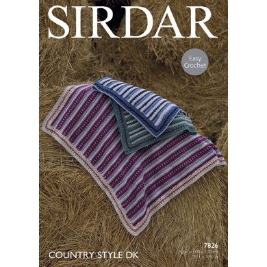 Sirdar Knitting Pattern Abbreviations : Blankets in Sirdar Country Style DK - 7826 - Downloadable PDF