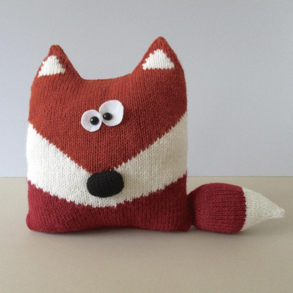 Mohair Cushion Knitting Pattern : Fox Cushion Knitting pattern by Amanda Berry Knitting Patterns LoveKnitting