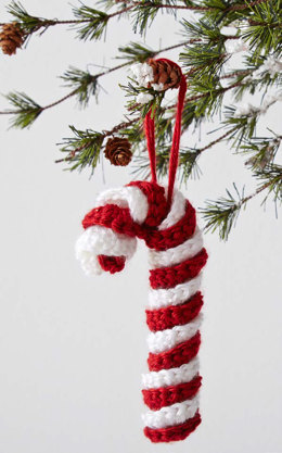 Candy Cane Ornament in Caron Simply Soft - Downloadable PDF