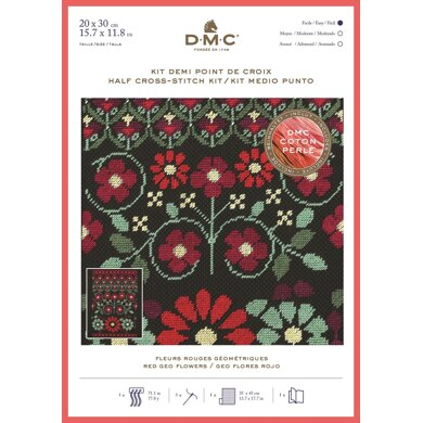 DMC Red Geo Flowers (Coton Perlé half cross stitch) Cross Stitch Kit