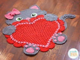 Sassy the Kitty Cat Heart Rug PDF Crochet Pattern