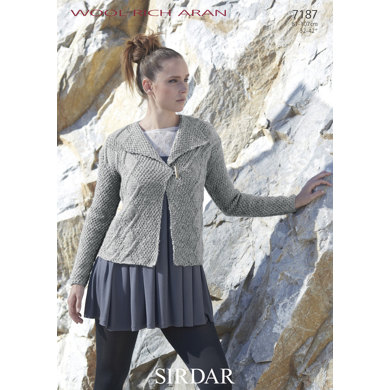 Woman's Cabled Jacket in Sirdar Wool Rich Aran - 7187