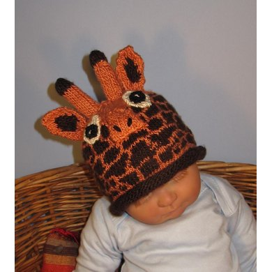 Knit Baby Hats Patterns Roll Brim : Baby Giraffe Hat animal roll brim beanie Knitting pattern by madmonkeyknits ...