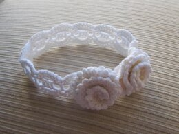 White Crochet Headband with Two Roses