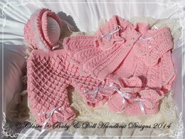 "'Pearly Princess' knitting pattern for 16-22"" doll/newborn/0-3m baby"
