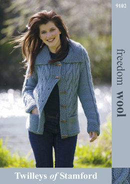 Ladies Knitted Cabled Jacket in Twilleys Freedom Wool - 9102