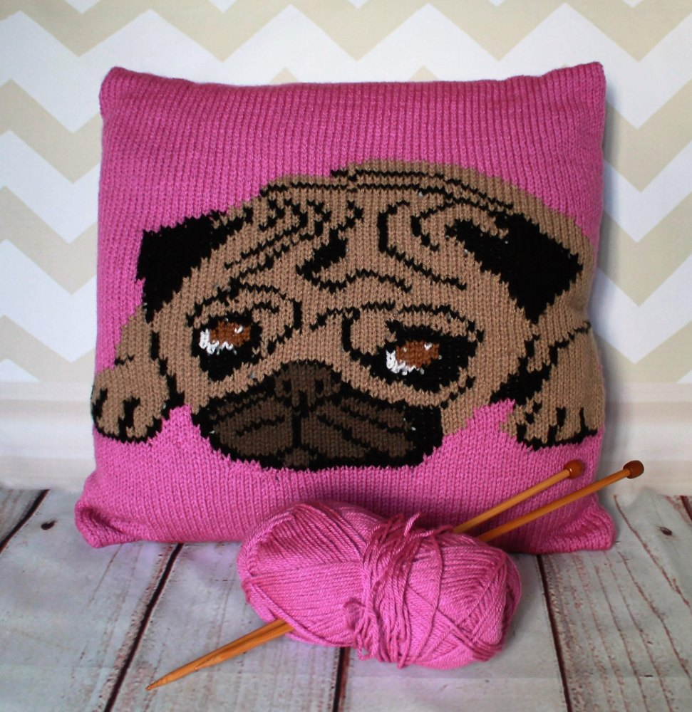 Pug Pet Portrait Cushion Cover Knitting Pattern Knitting pattern by ...
