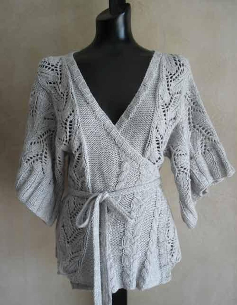 Knitting Pattern Wrap Cardigan : #69 Cables and Lace Kimono Wrap Cardigan Knitting pattern by SweaterBabe.com ...