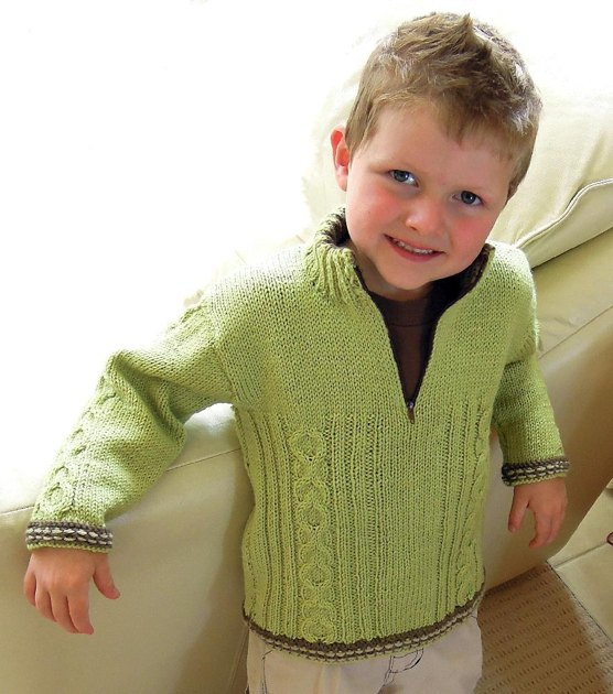 Boys Cozy Cable Jumper With Contrasting Trim P013 Knitting