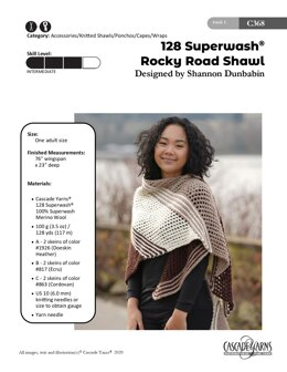 128 Superwash Rocky RoadShawl in Cascade Yarns - C368 - Downloadable PDF
