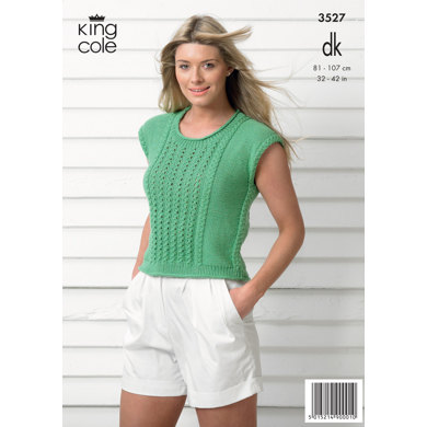 Ladies' Top and Cardigan in King Cole Smooth DK - 3527