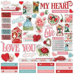 "Simple Stories Simple Vintage My Valentine Cardstock Stickers 12""X12"" - Combo"