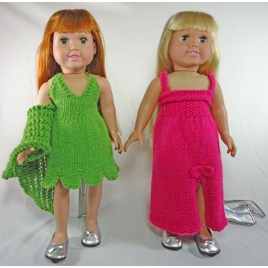 Prom Dresses,  Knitting Patterns fit American Girl and other 18-Inch Dolls