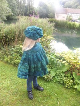 Child's Leaf Poncho With Matching Beret