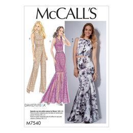 McCall's Misses' Princess Seam Top, Trumpet Dress and Skirt, and Tulip-Back Jumpsuit M7540 - Sewing Pattern