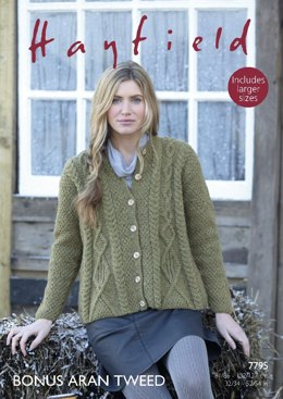 Swing Coat in Hayfield Bonus Aran Tweed with Wool - 7795- Downloadable PDF