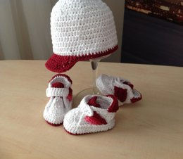Sporty Baby Bootie & Hat Set N 232