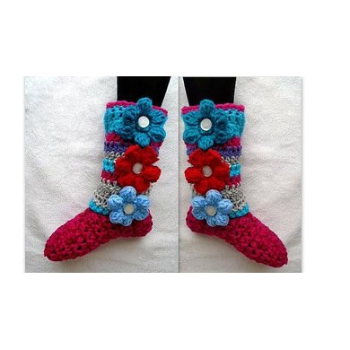 875 Colorful Puff Flower Slippers