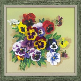 Riolis Pansies Satin Stitch Embroidery Kit