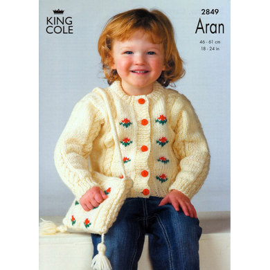 Sweater, Cardigan and Bag Knitted in King Cole Fashion Aran - 2849