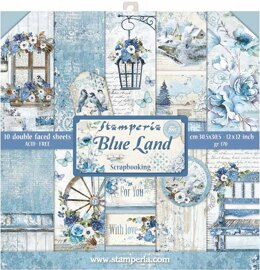 "Stamperia Intl Stamperia Double-Sided Paper Pad 12""X12"" 10/Pkg - Blue Land, 10 Designs/1 Each"