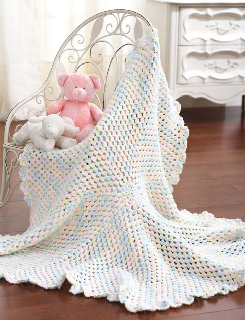 Round Blanket To Crochet In Bernat Baby Sport Crochet