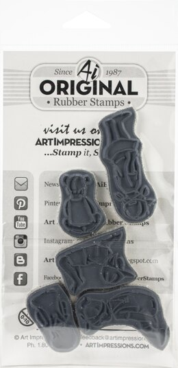 Art Impressions Watercolor Cling Rubber Stamps - Little Girls