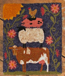 The Old Tattered Flag Farm Friends Large Punch Needle Pattern with Printed Weaver's Cloth - OTF105 - Leaflet