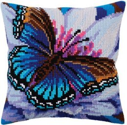 Collection D'Art Volatic Turquoise Butterfly II Cross Stitch Cushion Kit