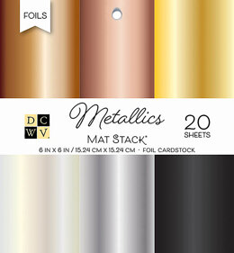 "American Crafts DCWV Single-Sided Cardstock Stack 6""X6"" 20/Pkg - Metallics Foil Solid, 6 Colors"