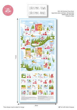 Craft Cotton Company Christmas Town Advent Calendar Panel - 261006