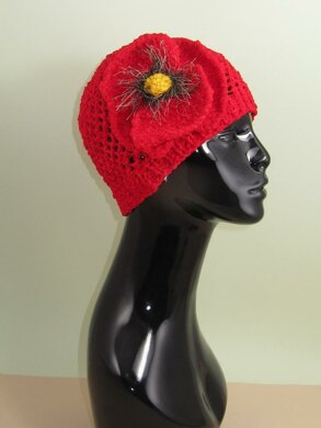 Big Poppy Chunky Lace Skullcap Hat
