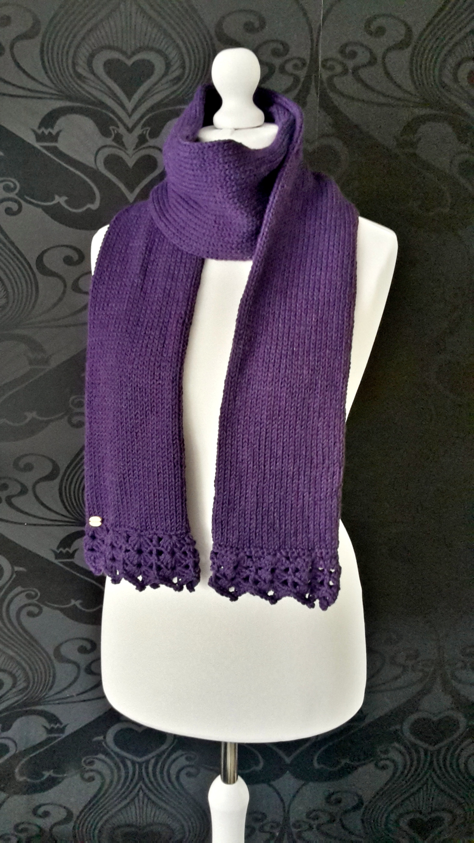 Knitted Wool Scarf With Crochet Edging Knitting And