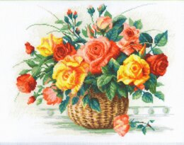 Riolis Basket with Roses Cross Stitch Kit - 35cm x 30cm