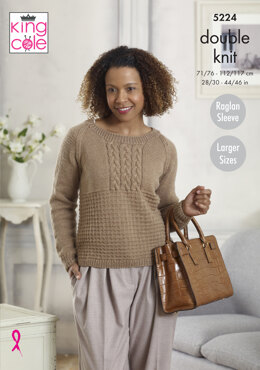 Sweater & Cardigan Larger Sizes in King Cole Majestic DK - 5224 - Leaflet