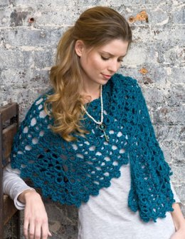 Graceful Shell Shawl in Red Heart Soft Solids - LW2426