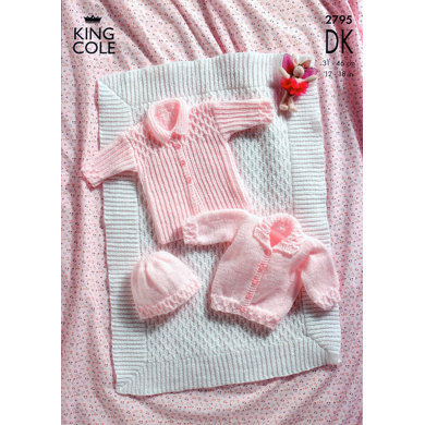 Pram Cover, Coat, Jacket and Hat in King Cole Big Value Baby DK - 2795