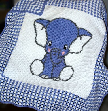 Crochet Baby Blanket Afghan Blue Elephant Crochet Pattern By