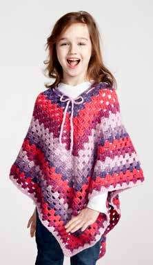 Girl's Crochet Poncho in Bernat Pop! - Downloadable PDF