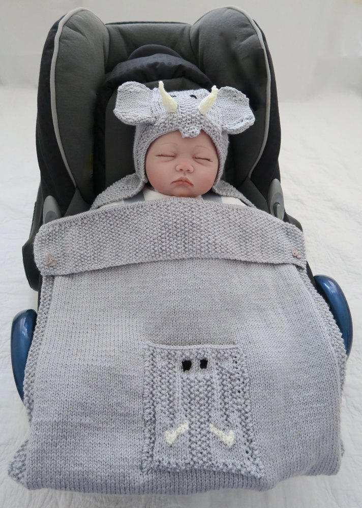 Elephant Hooded Baby Car Seat Blanket Knitting Pattern By