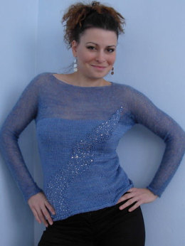 Glitter Wave Top in Artyarns Regal Silk and Artyarns Beaded Silk with Sequins - I129