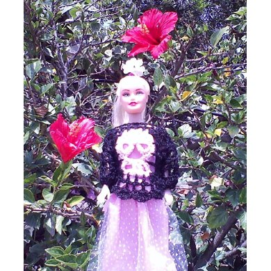 Crochet Skull Sweater for Barbie or any 11 1/2 inch Fashion Doll
