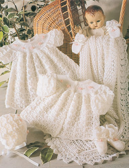 Matinee Coat, Dress, Bonnet, Bootees, Mittens and Shawl in Stylecraft Wondersoft 3 Ply - 4165