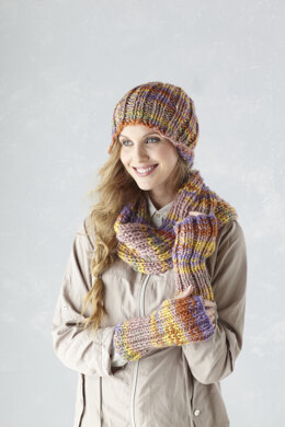 Ladies Hat, Cowl, Wrist Warmer, Tabbard, Wrap, Scarf with frill, & Garter Stitch Scarf in King Cole Super Chunky - 5640 - Leaflet