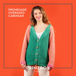 Promenade Oversized Cardigan - Free Cardigan Crochet and Knitting Pattern For Women in Paintbox Yarns Cotton DK by Paintbox Yarns